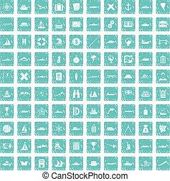 100 shipping icons set grunge blue