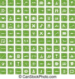 100 shipping icons set grunge green