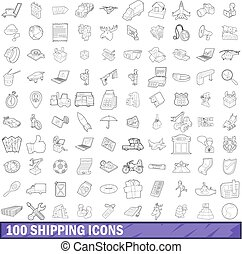100 shipping icons set, outline style - 100 shipping icons...