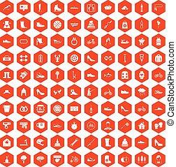 100 shoe icons hexagon orange