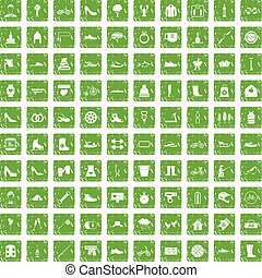 100 shoe icons set grunge green - 100 shoe icons set in...