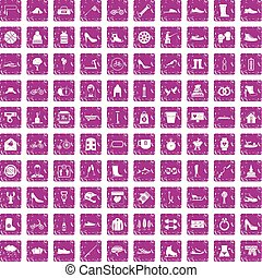 100 shoe icons set grunge pink