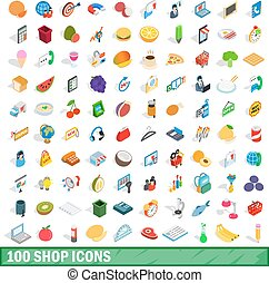 100 shop icons set, isometric 3d style