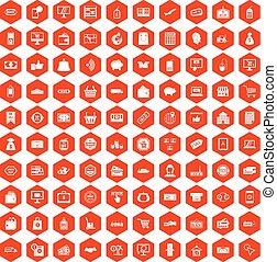 100 shopping icons hexagon orange
