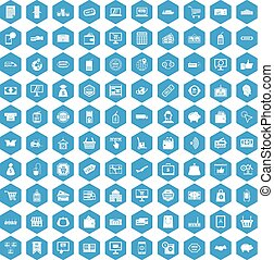 100 shopping icons set blue