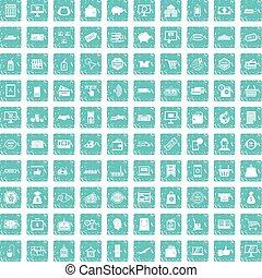 100 shopping icons set grunge blue