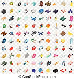 100 shopping icons set, isometric 3d style - 100 shopping...