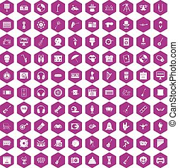 100 show business icons hexagon violet