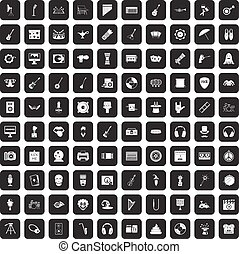 100 show business icons set black