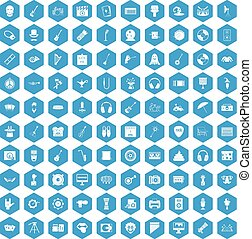 100 show business icons set blue