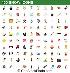 100 show icons set, cartoon style