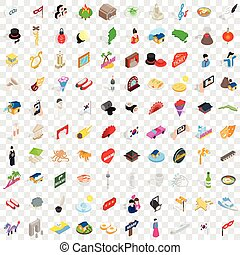 100 show icons set, isometric 3d style