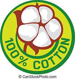 100, %, simbolo, cotone