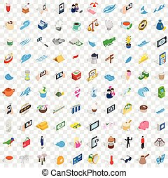 100 singapore icons set, isometric 3d style