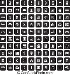 100 smart house icons set black