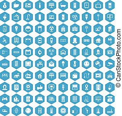 100 smart house icons set blue