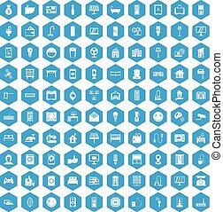 100 smart house icons set blue