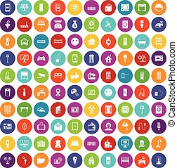 100 smart house icons set color