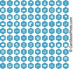 100 smartphone icons set blue
