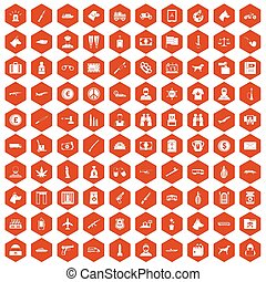 100 smuggling icons hexagon orange