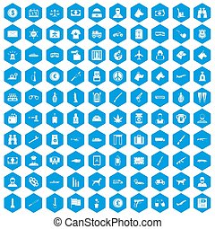 100 smuggling icons set blue