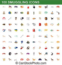 100 smuggling icons set, cartoon style