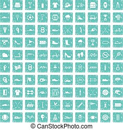 100 sneakers icons set grunge blue
