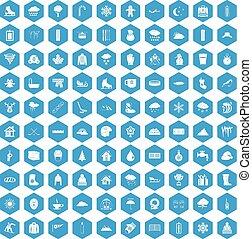100 snow icons set blue - 100 snow icons set in blue hexagon...