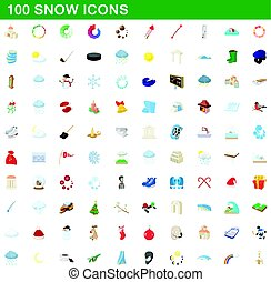 100 snow icons set, cartoon style
