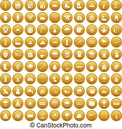 100 snow icons set gold - 100 snow icons set in gold circle...