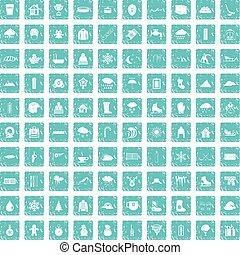 100 snow icons set grunge blue