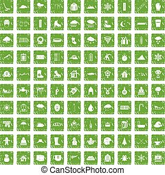100 snow icons set grunge green - 100 snow icons set in...