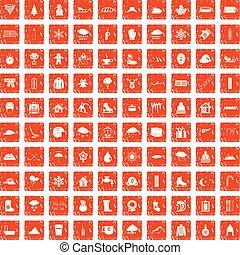 100 snow icons set grunge orange - 100 snow icons set in...