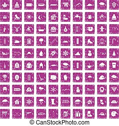 100 snow icons set grunge pink - 100 snow icons set in...