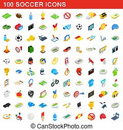 100 soccer icons set, isometric 3d style
