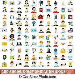 100 social communication icons set, flat style