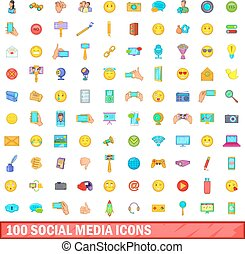 100 social media icons set, cartoon style