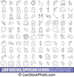 100 social opinion icons set, outline style
