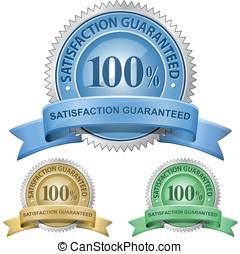 100%, soddisfazione, guaranteed, segni