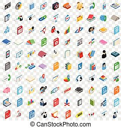 100 software icons set, isometric 3d style