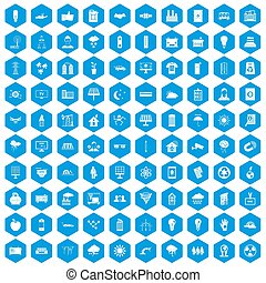 100 solar energy icons set blue