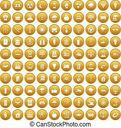 100 solar energy icons set gold
