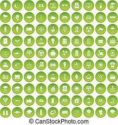 100 solar energy icons set green