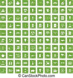 100 solar energy icons set grunge green