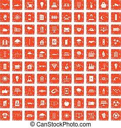 100 solar energy icons set grunge orange