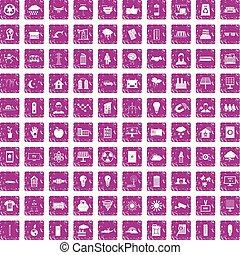 100 solar energy icons set grunge pink