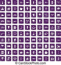 100 solar energy icons set grunge purple