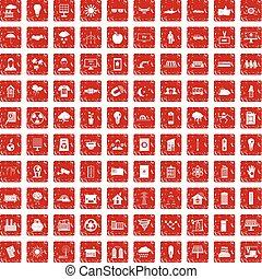 100 solar energy icons set grunge red