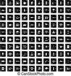 100 solar energy icons set, grunge style