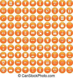 100 solar energy icons set orange